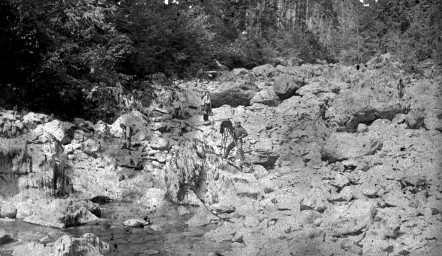 Leech River Mining Scene. Image G-07102 courtesy of Royal BC Museum, BC Archives
